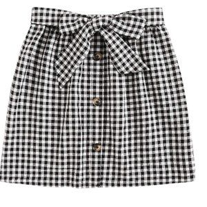 High Waist Button Mini Short Skirt